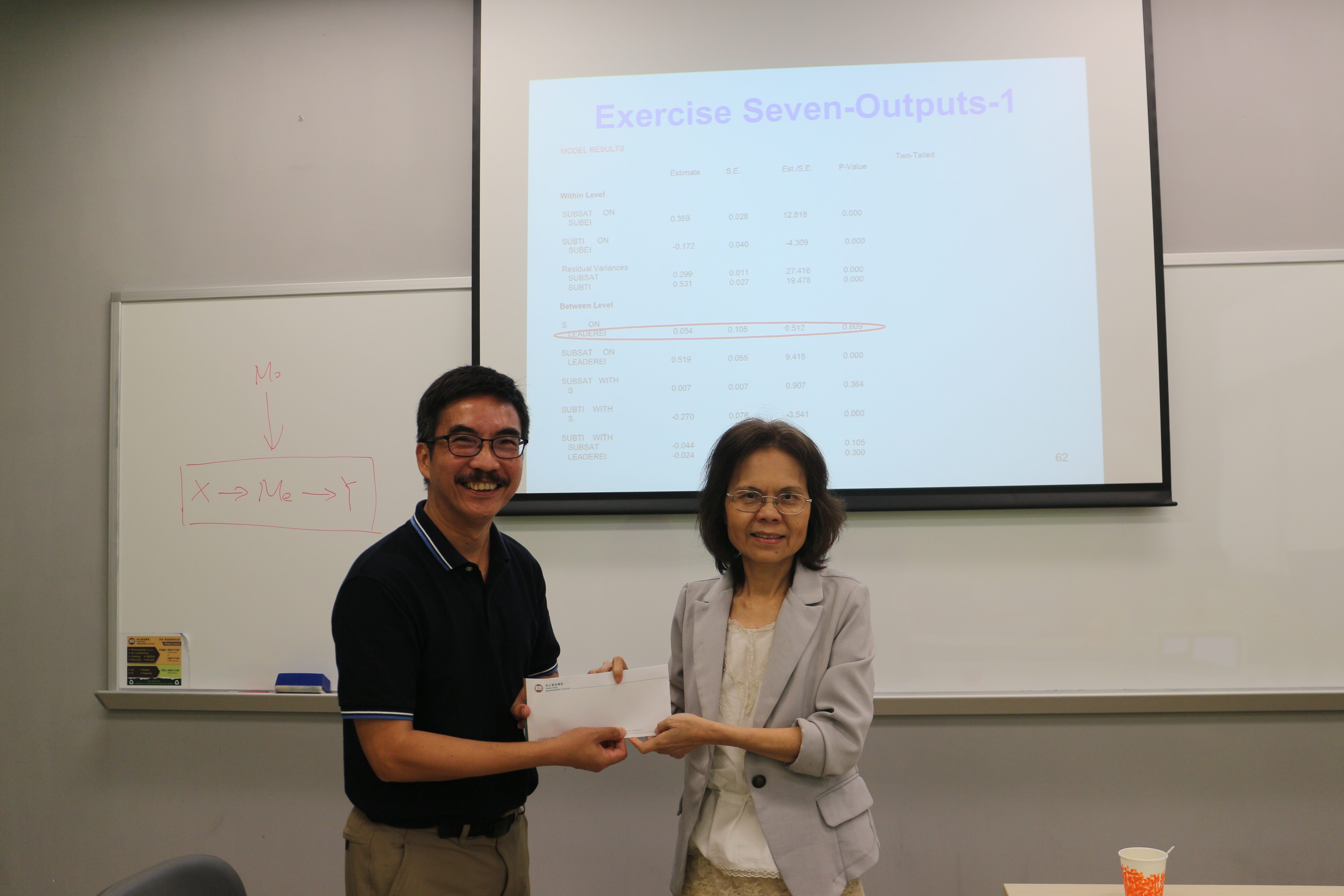 Prof Irene Chow presents a souvenir to Prof Wong