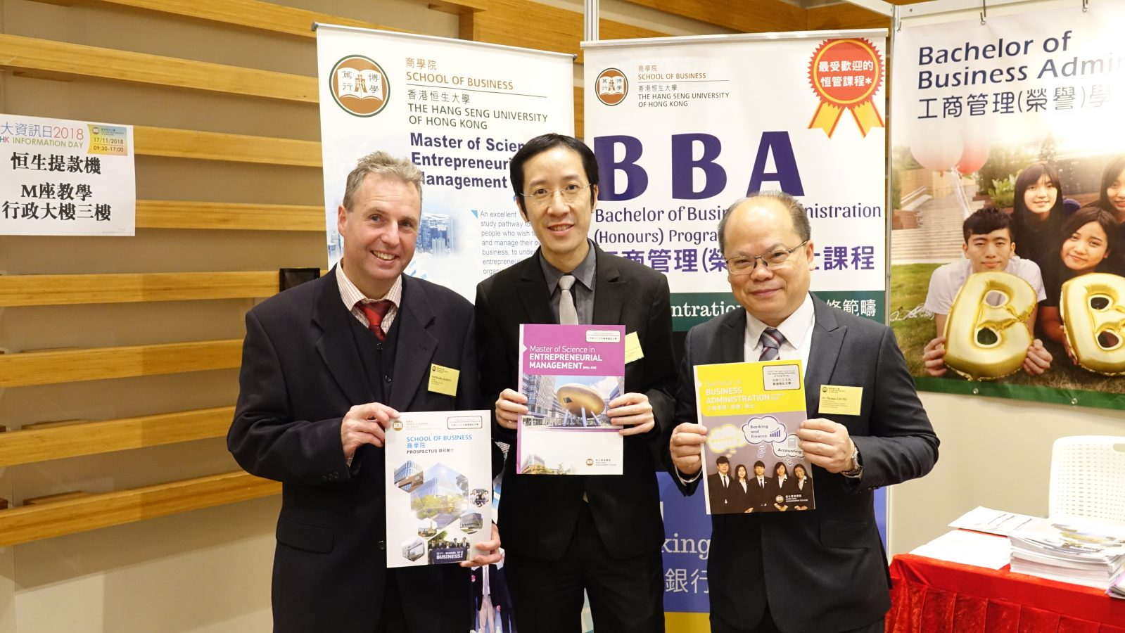 Prof Bradley Barnes (Left) (Dean of the School of Business), Dr Felix Tang (Middle) (Associate Director of the BBA Programme) and Dr Thomas Leung (Right) (Associate Dean of the School of Business and Director of the BBA Programme)