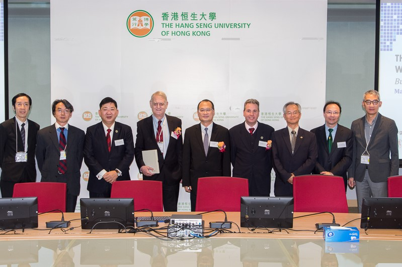 (left to right) Dr Felix TANG (HSUHK), Professor Minghua Liu (UM), President Ho, Professor Snell, Dr Choi, Professor Barnes, Professor Jacky So (UM), Dr Tom Fong (HSUHK) and Dr Ludwig Chang (HKBU)